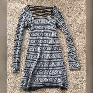 FREE PEOPLE Silver and Black Strappy Tunic Dress
